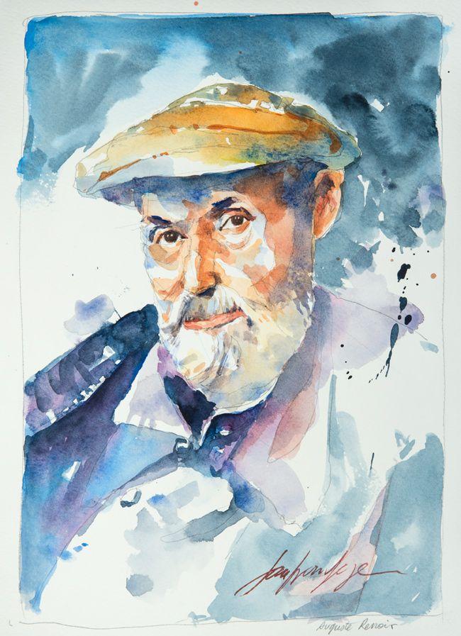 Auguste Renoir. Une série de portraits à l'aquarelle en hommage aux grands artistes du 19 ème au 20 ème siècle. Le lien vers mon blog : www.humericbox.com