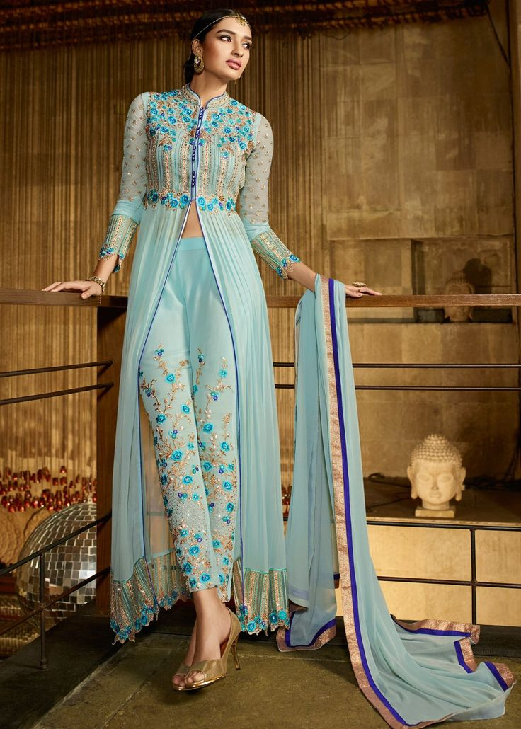 Light Blue Georgette Front Slit Kameez with Pant Salwar Kameez 1247SL06