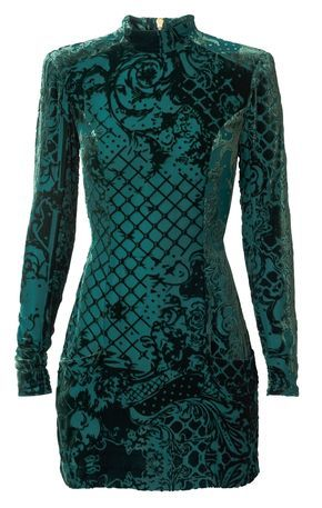 This dress is a showstopper...long-sleeved, high neck aqua dress by Balmain x H&M...less than $150!