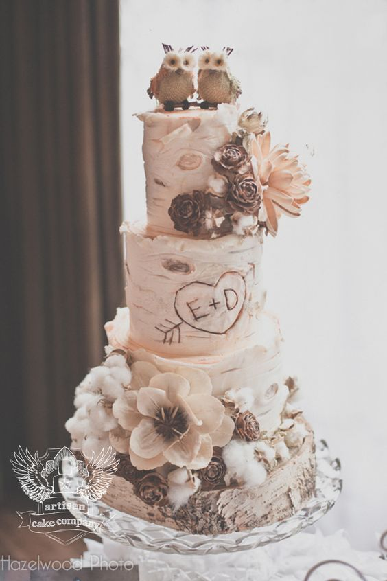 rustic birch wedding cake with little owl cake topper / http://www.deerpearlflowers.com/rustic-wedding-details-and-ideas/2/