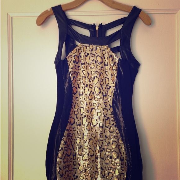 Gorgeous sequined body on Bebe dress Stunning all over sequin/ bondage dress. All the sequins are perfect! The frame of the pattern gives amazing body curves. Great for Vegas or just going out! Size 0 bebe Dresses