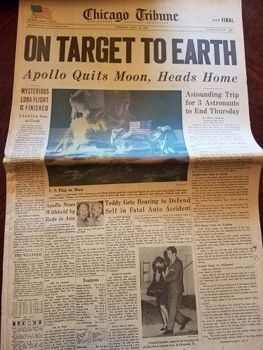 Chicago Tribune July 22,1969 On Target to Earth Apollo Sections 1