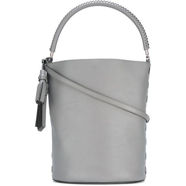 Max Mara bucket tote (13.650 ARS) ❤ liked on Polyvore featuring bags, handbags, tote bags, grey, tote hand bags, gray tote handbags, handbags totes, gray tote and gray handbags