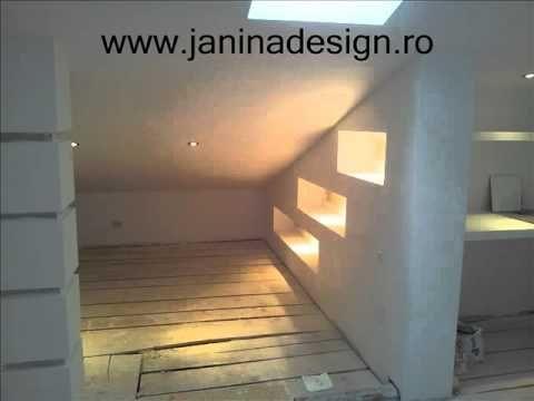 #Amenajare #mansarda ( pod ) gips carton rigips, inainte si dupa. janinadesign. - YouTube