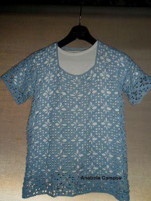 Rendas da Mãe: Blusa de algodão em croche