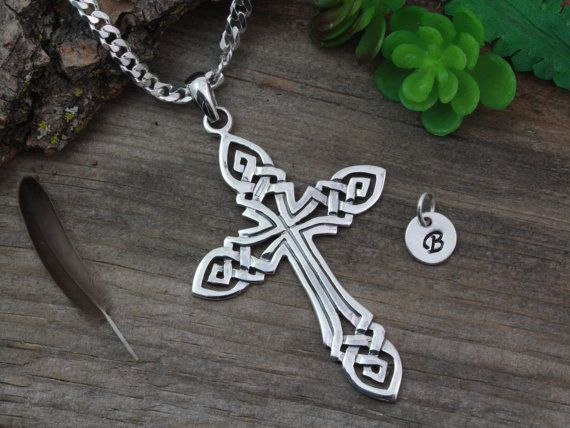 Large Mens Celtic cross necklace, large sterling silver men cross necklace, irish jewelry, Choose Chain, mens Celtic Cross . CHPL5307_1