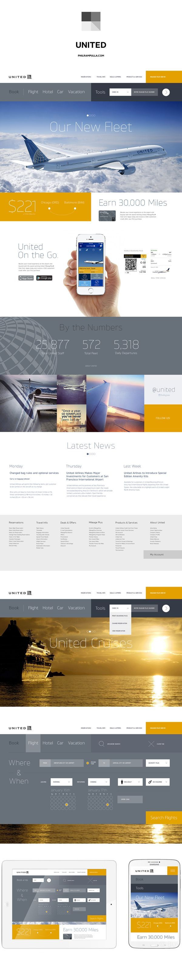 Web design / United Airlines Website Redesign by Phil Rampulla / 30 Examples of Trendy & Modern Web Design