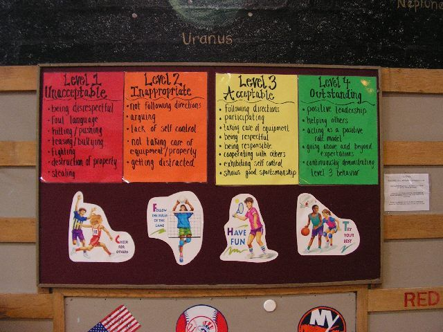 Title of Bulletin Board: Levels of behavior  Category: Behavior Incentives  Suggested Grade Level: K-2  Materials: poster paper  Description:  This board signifies where students should strive to be. We want students to follow a level 3, 4 behavior (e.g. respect, follow directions). If this behavior is followed, students are on task doing what they are supposed to do and may get rewarded. However, if students are at a level 1 or 2 behavior they may have to take a time out or get a…
