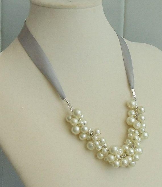 BRIDESMAID GIFT Gray Ribbon & Ivory Pearl  WEDDING by DYEnamite, $19.50