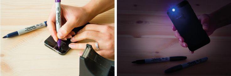 DIY Sharpie black light med smartphone - se mere på BLOG Bog & idé