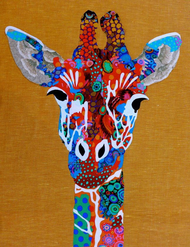 Giraffe by Pam Holland   art quilt. The background fabric is linen from Ikea. Most of the other fabric is by Kaffe Fassett.