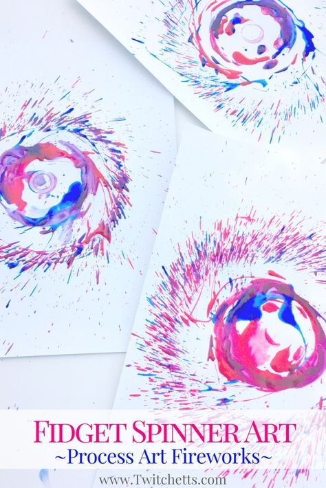 Create this fun firework craft using fidget spinner art. Fidget toys are great for many things, including creating fun paint fireworks that are perfect for the 4th of July! Firework art made from fidget spinners are perfect for Memorial day, Independence Day, or any other time you need patriotic crafts.