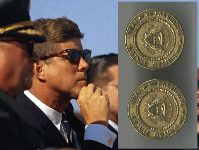 Beautiful 14K solid gold cufflinks with a die struck Presidential Seal on the front and Kennedy's engraved signature on the back.