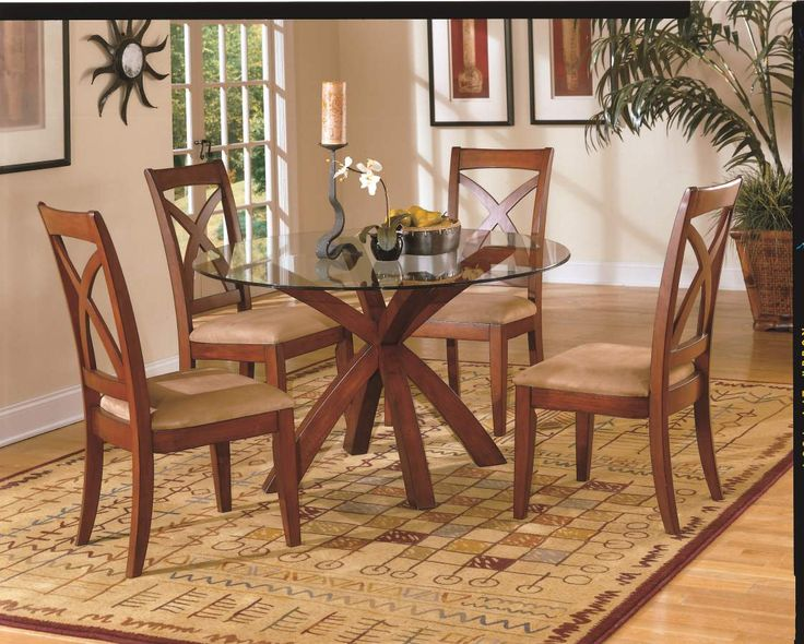 Star Hill Cherry Wood Glass Round Dining Table