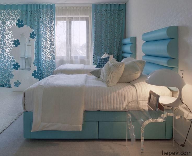 Mavi renklerde Yatak Odaları   Hepev