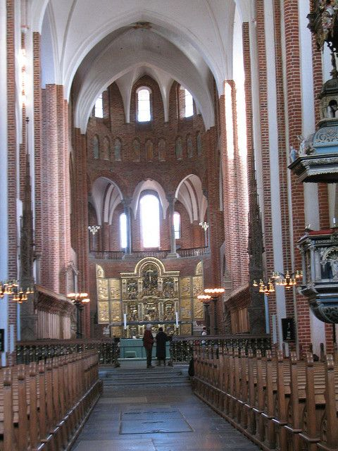 Interior of historic Roskilde Cathedral in Roskilde, Denmark close to Copenhagen.