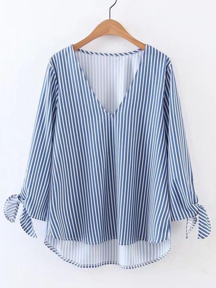 Blusa asimétrica con abertura en V de rayas verticales y puños con cordones -Spanish SheIn(Sheinside)