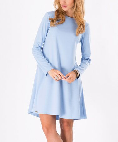 Light Blue Long-Sleeve Shift Dress #zulily #zulilyfinds