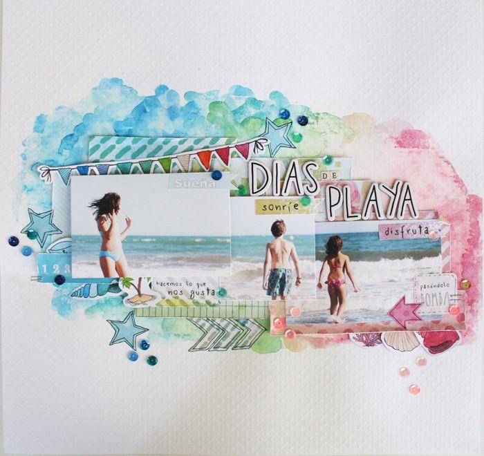 Layout con papeles de Escrap por Lorena Tejedor de nuestro DT #DTEscrap #escrap #scrapbooking