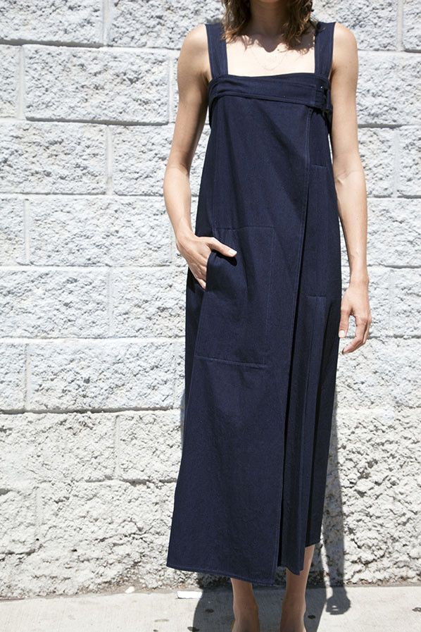 WRAPOVER DRESS, INDIGO