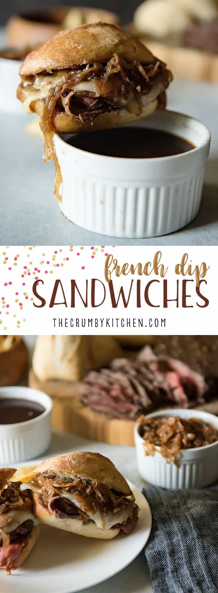 Tender & juicy London broil is the star of these French Dip Sandwiches with Caramelized Onion Au Jus, but slices from leftover holiday roasts would be equally delicious! #leftover #roastbeef #frenchdip #sandwich #aujus #gravy #caramelizedonion #londonbroil