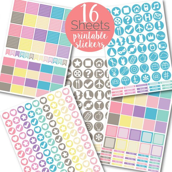 ULTIMATE 1249 Pastel PLANNER STICKERS Printable Sticker Pack Weekly Monthly To Do Checklist Full Half Box Circles Kit Erin Condren Mambi by danidolldesignsx
