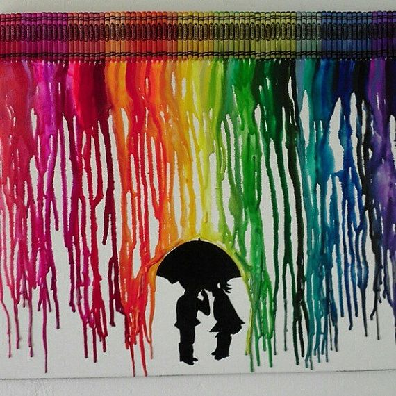 Melted crayon art...Glue crayons to easel and melt them with a hairdryer. Picture optional but cute.