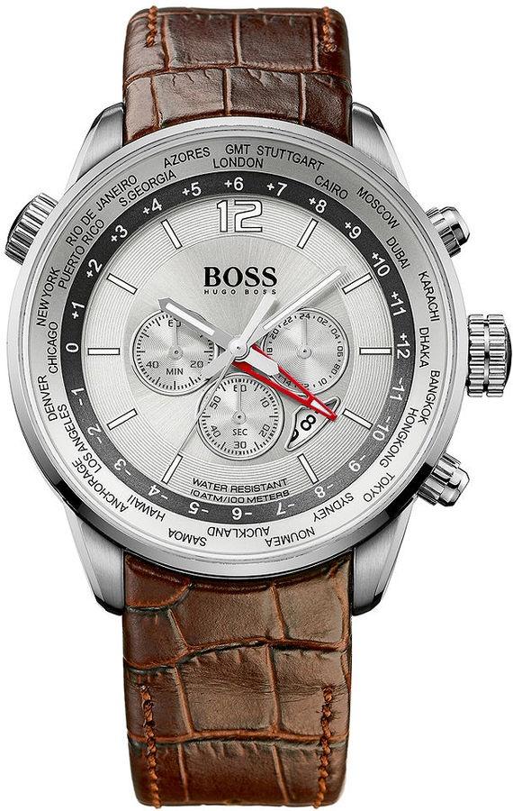 Hugo Boss Watch, Men's Brown Leather Strap 44mm 1512739