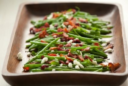 Green Beans with Goat Cheese, Cranberries and Bacon // A simple topping of goat cheese, crispy bacon and sweet-tart cranberries adds fantastic flavor! #holiday #recipe #Thanksgiving data-pin-do=