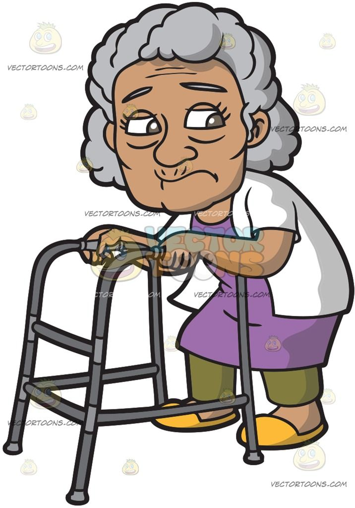 A Curious Old Woman :  An old woman with curly gray hair wearing a purple dress olive green pants white short sleeve jacket yellow orange slippers frowns while walking with the help of the gray walker in her hands  The post A Curious Old Woman appeared first on VectorToons.com.