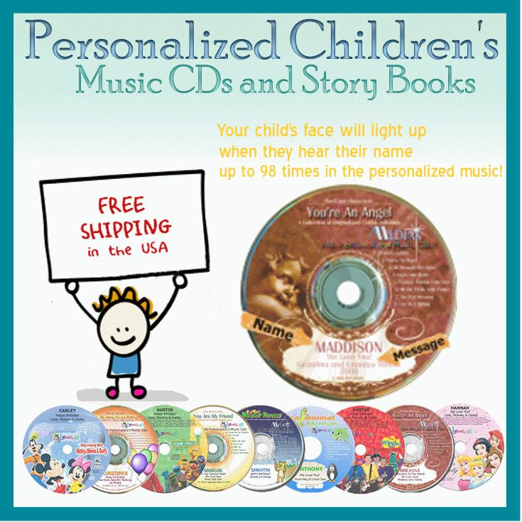 Personalized Chidlren's Music CDs Over 3500 Names Available Lullaby, Funtime, Religious, Birthday, Disney, Spanish and Sport CDs available *Free Shipping* www.MyMusicCD.com