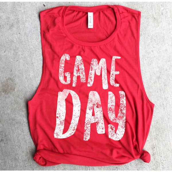 Game Day Red Football Muscle Tee Game Day Shirt Football Shirt Red... ($22) ❤ liked on Polyvore featuring tops, grey, tanks, women's clothing, grey shirt, red top, red shirt, muscle t shirts and drape shirt