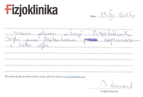 Andrzej    Szczerze polecam usługi Fizjokliniki. Dzięki Panu Mateuszowi zapomniałem o bólu ręki. Andrzej