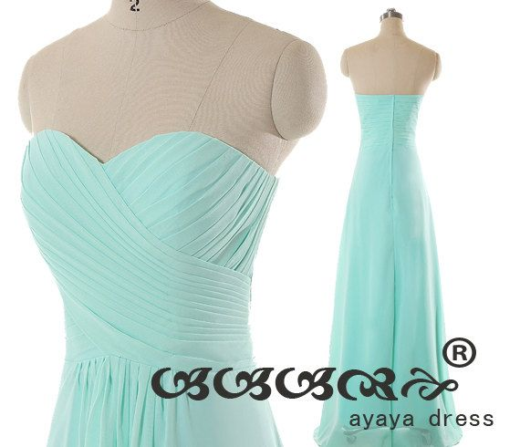 Long Bridesmaid Dress, chiffon prom dress,cheap bridesmaid dresses, Mint green long  Bridesmaid dresses with Sweetheart Neckline 2015,