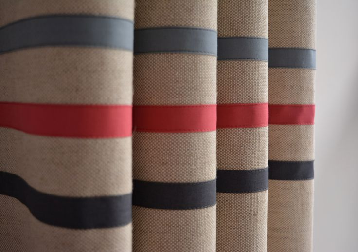 Linen and organic cotton contemporary eyelet curtains. Three stripes and in blue, red and graphite. Simple!