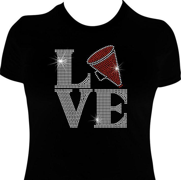 LOVE Cheer, Bling Cheerleading shirt, Rhinestone Cheerleading shirt, Cheer shirts, Love Squared,  Sparkle Cheer shirt by WizardMadeIt on Etsy