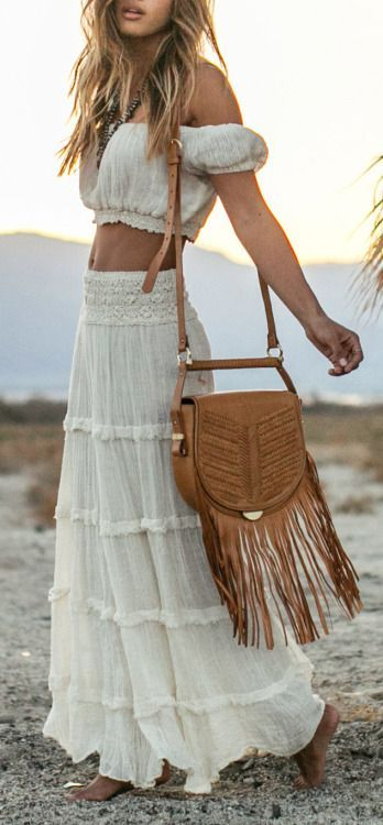 Bohemian skirt and top, off shoulder shirt, boho maxi skirt, hippie outfit, bohemian style fashion