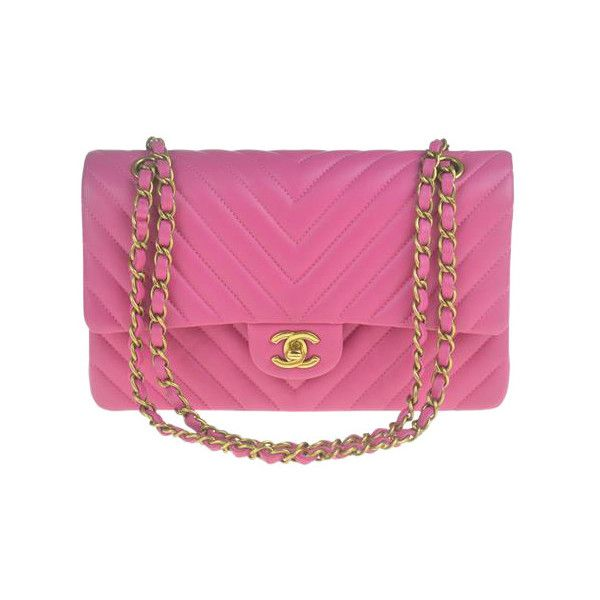 Pre-Owned Chanel Chevron Pink Medium Shoulder Bag ($4,299) ❤ liked on Polyvore featuring bags, handbags, shoulder bags, pink, preowned handbags, handbags purses, man shoulder bag, chanel purses and pink shoulder handbags