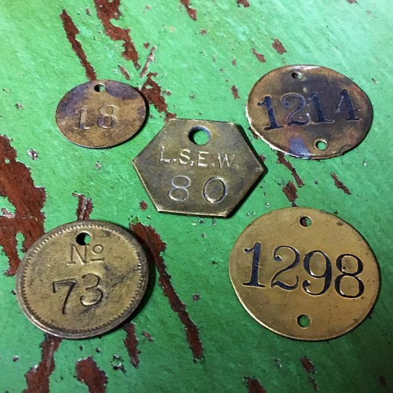 Lot of 5 vintage Brass Tags  tool tag lucky number  cattle