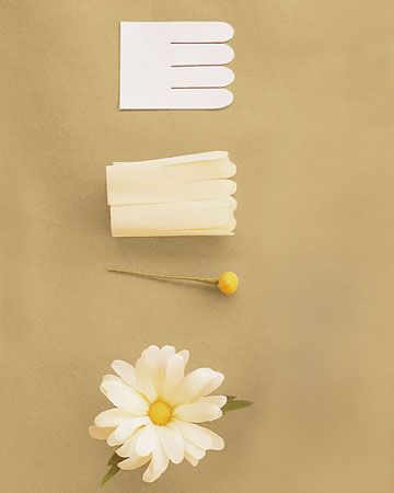 Daisy : Use 18 inches of petals (get the template below), a button stamen, and two notched leaves. Attach strip to stamen, pleating bottom edge to prevent bunching, and keeping it aligned as you wrap. Cup each petal outward, then curl petals outward, shaping several at a time. Attach leaves near... Would Be CUTE To Line The Isle Runner With These, But NOT White!