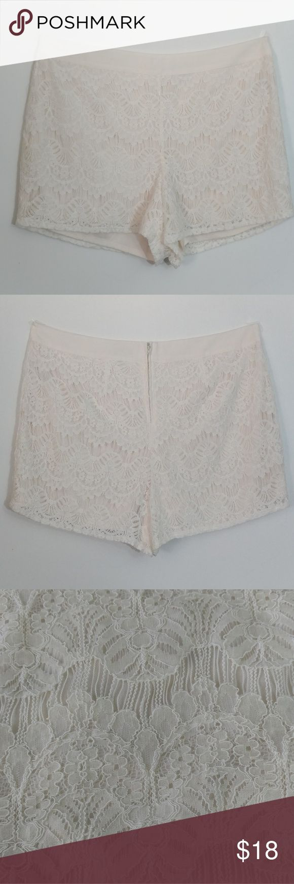 Forever 21 + (Cream Lace Shorts) Forever 21 plus Lace Cream shorts. Size 1X. New without tags but have not been worn. They are too short for my comfort but deserve to see the outside world being so beautiful.  Waist is 20in with no stretch Length 16in    Reasonable OFFERS welcome  No Trades Forever 21 Shorts