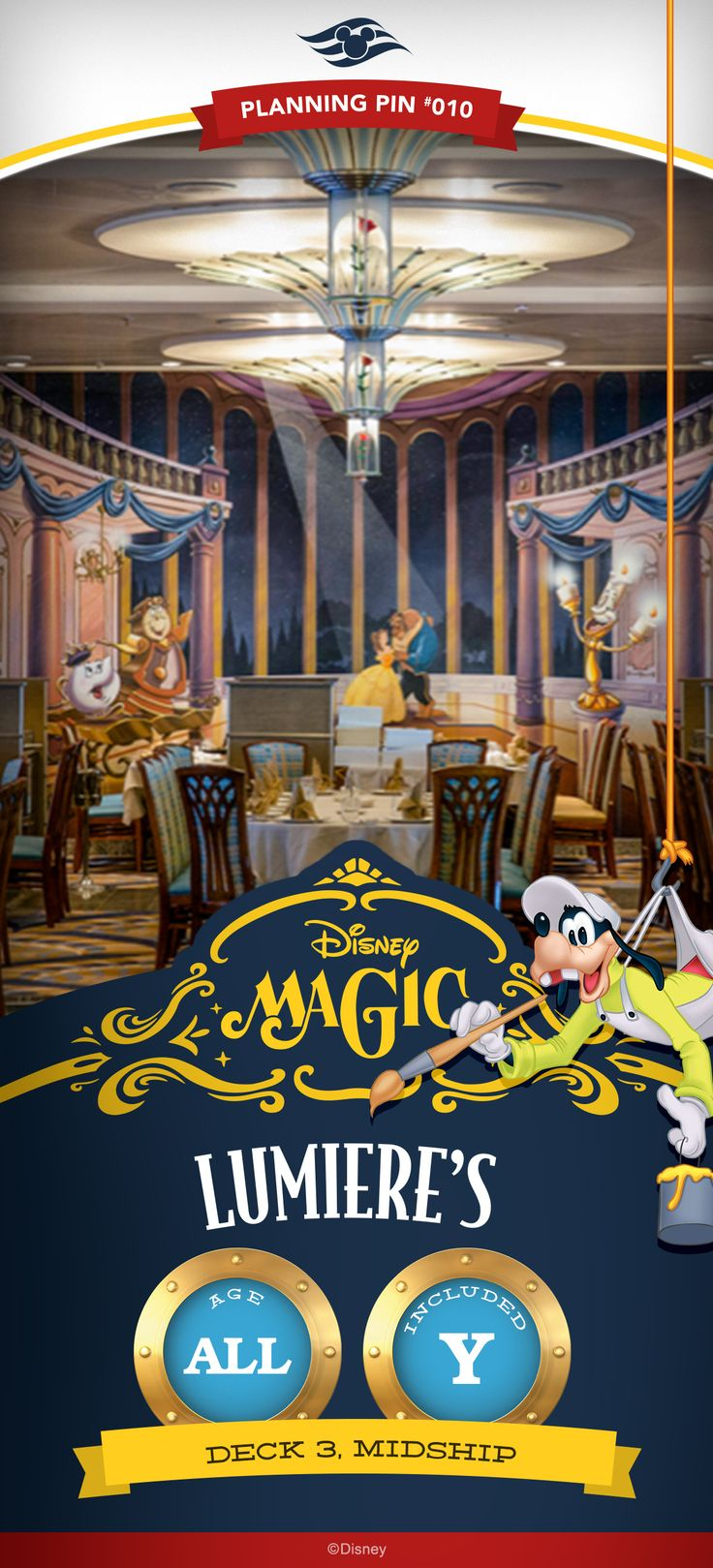 Offering a 4-course affair, Lumiere's onboard Disney Magic will set your taste buds aflame with an enticing selection of American and French fare with a modern twist for supper. Click to learn more about this Disney Cruise Line restaurant.