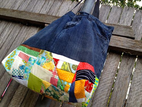 Upcycled denim pants travel bag with improv patchwork | Sewn Up