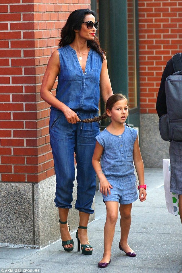 So cute: Padma Lakshmi and her daughter Krishna were 'twinning' in denim outfits when they...