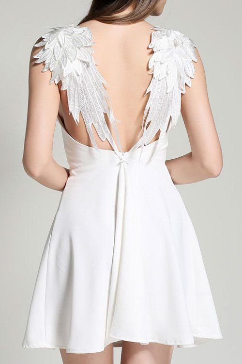Trending fashion -White Backless Winged Spaghetti Strap Lace Embroidery Dress ==