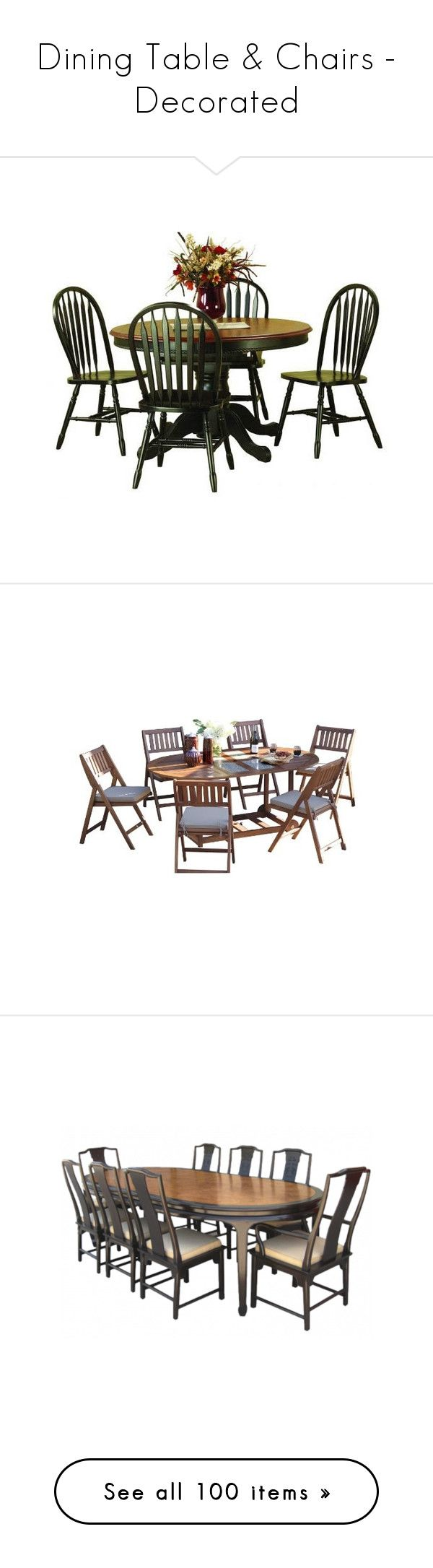 """""""Dining Table & Chairs - Decorated"""" by lynnspinterest ❤ liked on Polyvore featuring home, furniture, tables, dining sets, dining tables, dining, wooden dining table set, wood dining set, butterfly dining set and wooden dining set"""