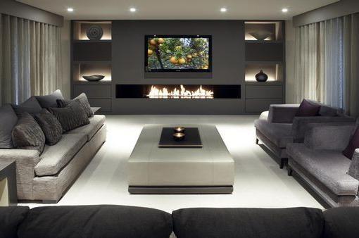 Wohnzimmer einrichten - Monochrome Designs mit Holz kombinieren