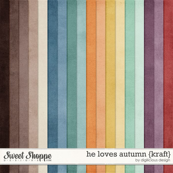 He Loves Autumn {Kraft} by Digilicious Design solid fall shades digital papers perfect for scrapbooking projects.