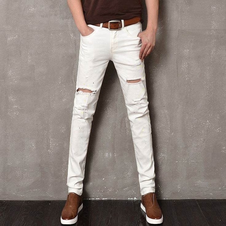 24.84$  Buy now - http://aliz3s.shopchina.info/go.php?t=32696780443 - 2017 Stripe Solid Mid Casual Jeans Homme New Elastic White Jeans Hole Paint Denim Pants Male Straight Slim Ripped Jeans Skinny  #aliexpresschina