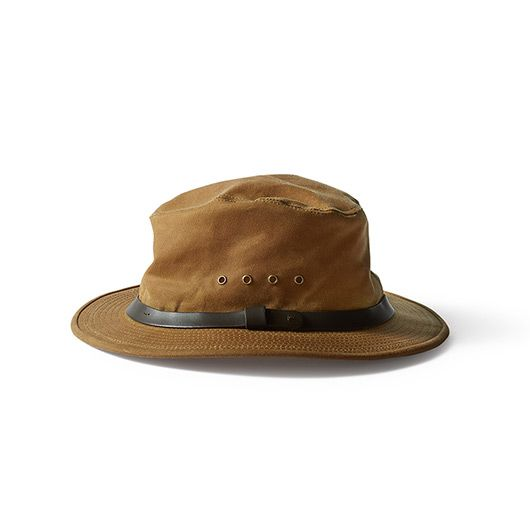 Filson Tin Cloth Packer Hat.  Squashes flat, keeps water and sun off, made in America, and makes you feel like Indiana MF Jones.  I love me this hat.